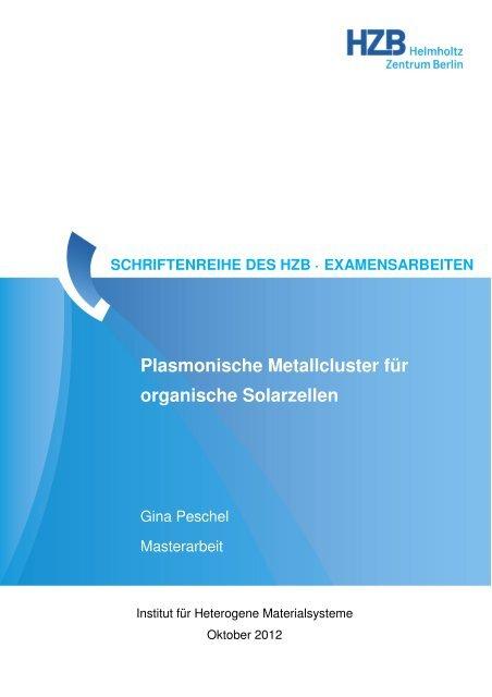 Plasmonische Metallcluster für organische Solarzellen
