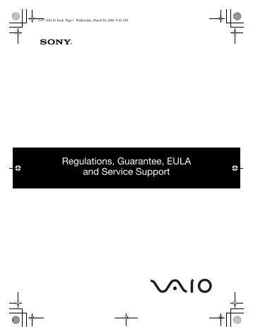 Sony VGN-Z11AWN - VGN-Z11AWN Documenti garanzia Inglese