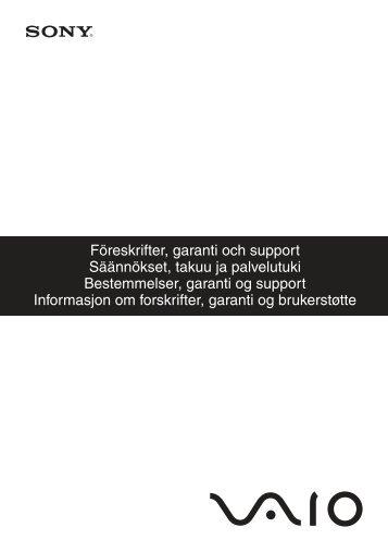 Sony VPCL13S1E - VPCL13S1E Documenti garanzia Svedese