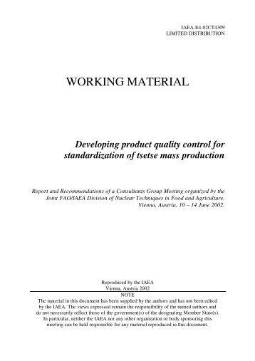 Developing product quality control for standardization of tsetse mass ...