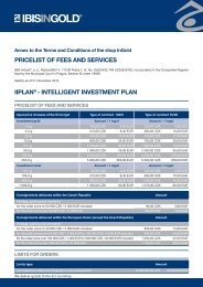 PRICELIST OF FEES AND SERVICES IIPLAN - INTELLIGENT INVESTMENT PLAN