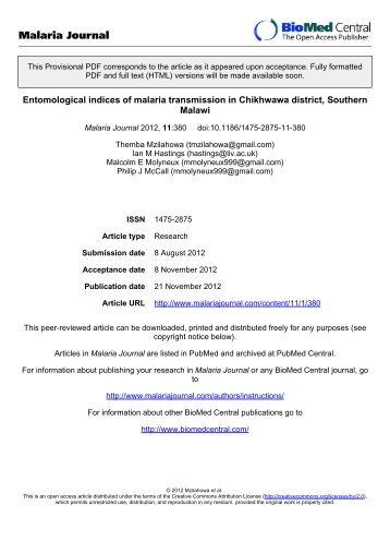 Entomological indices of malaria transmission in Chikhwawa district ...