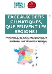 FACE AUX DEFIS CLIMATIQUES QUE PEUVENT LES REGIONS ?