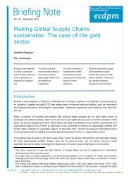 Making Global Supply Chains sustainable The case of the gold sector