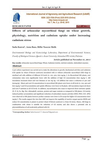 Effects of arbuscular mycorrhizal fungi on wheat growth, physiology, nutrition and cadmium uptake under increasing cadmium stress