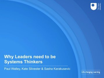 Why Leaders need to be Systems Thinkers
