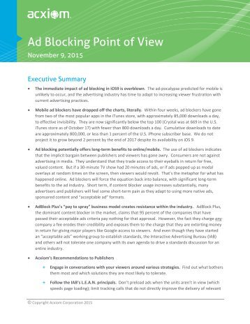 Ad Blocking Point of View