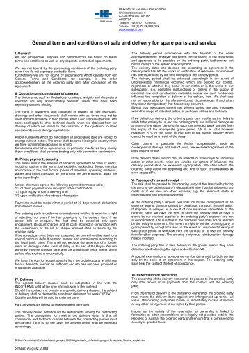 General terms and conditions of sale and delivery for ... - Hertwich