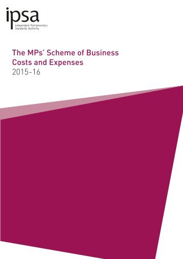 MPs' Scheme of Business Costs and Expenses Seventh Edition (2015-16)