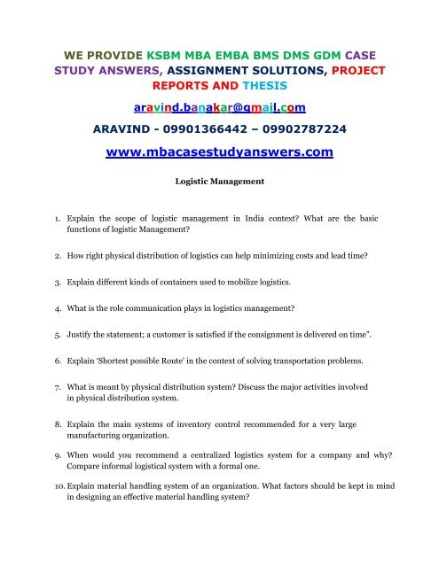Explain the scope of logistic management in India context What are