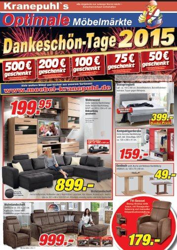 Danke-schön-Tage 2015 bei Kranepuhl's Optimale Möbelmärkte