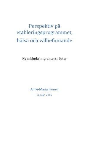 Perspektiv på etableringsprogrammet hälsa och välbefinnande