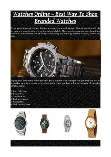 Watches Online – Best Way To Shop Branded Watches