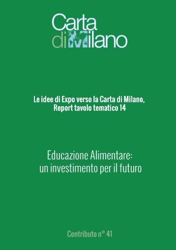 Educazione Alimentare un investimento per il futuro