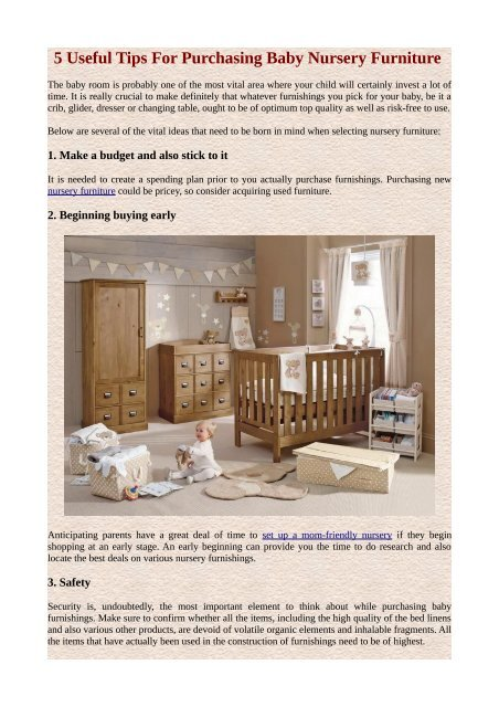 5 Useful Tips For Purchasing Baby Nursery Furniture