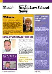 Anglia Law School newsletter November 2015