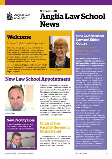 Anglia Law School newsletter November 2015