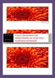 FORSLAG REGLEMENT FOR REKRUTTERING OG TILSETTING I ALSTAHAUG KOMMUNE