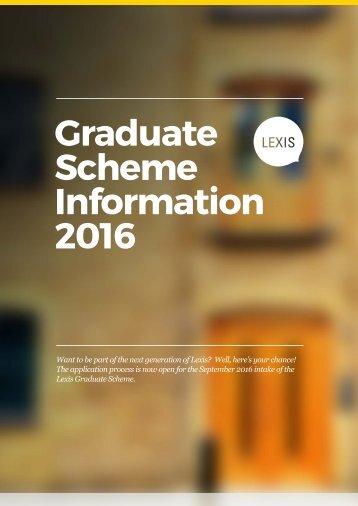 Graduate Scheme Information 2016