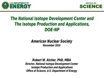 SCIENCE The National Isotope Development Center and The ...