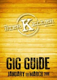 Bier Keller Gig Guide Jan - March 2016