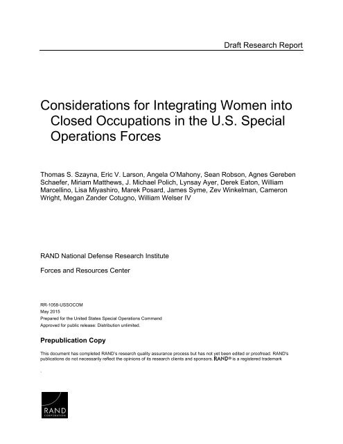 Socom Considerations For Integrating Women Into Closed Occupations In The Us Special Operations Forces