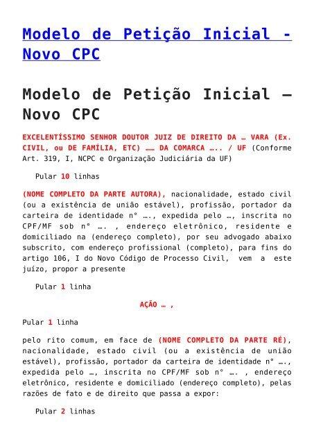 Novo Cpc Modelo De Petição Inicial Novo Cpc