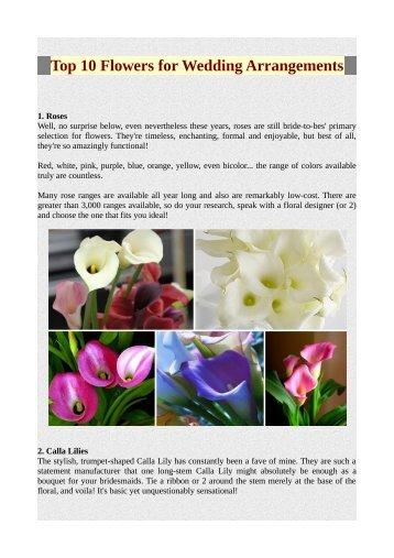 Top 10 Flowers for Wedding Arrangements