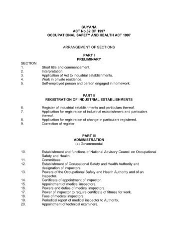 GUYANA ACT No.32 OF 1997 OCCUPATIONAL SAFETY AND ...