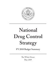 National Drug Control Strategy: FY 2010 Budget ... - The White House