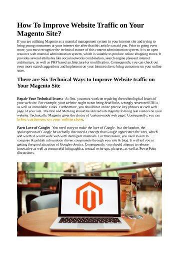 How To Improve Website Traffic on Your Magento Site?
