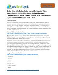 Business Survey: Wearable Technologies market 2015 to 2021 Trends and Forecast