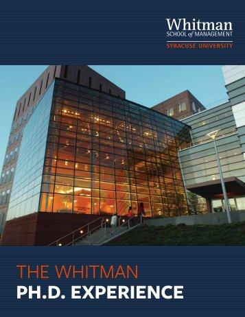 Whitman PhD Brochure