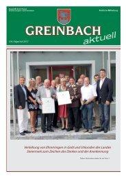 Verleihung von Ehrenringen in Gold und Urkunden des ... - Greinbach