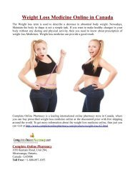 Weight Loss Medicine Online in Canada