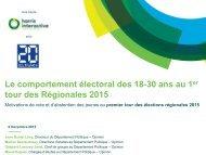 Le comportement électoral des 18-30 ans au 1 tour des Régionales 2015