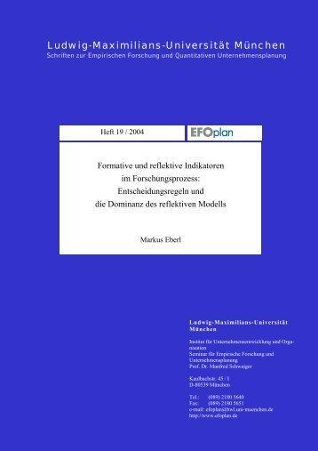 Formative und reflektive Indikatoren im Forschungsprozess ...
