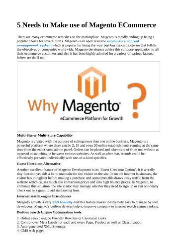 5 Needs to Make use of Magento ECommerce