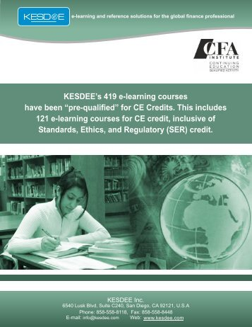 CFA Institute Pre-Qualified CE Course Catalog - KESDEE Inc.