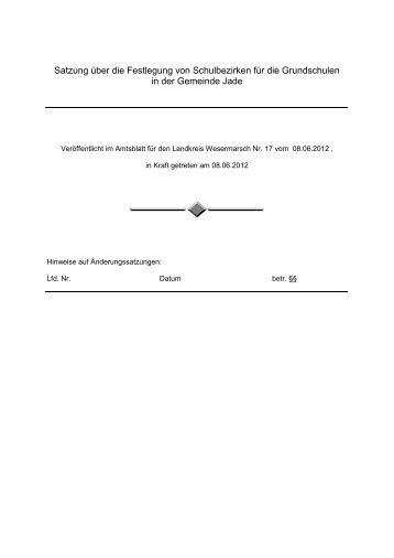 Satzung über die Festlegung von Schulbezirken ... - Gemeinde Jade
