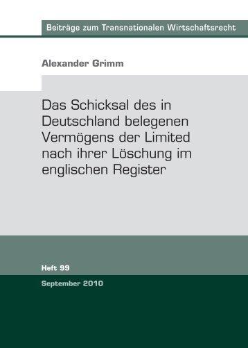 Das Schicksal des in Deutschland belegenen Vermögens der ...