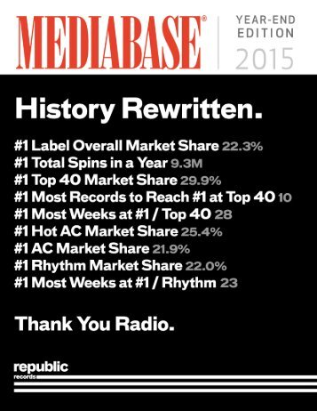 REPUBLIC #1 WITH NEW AIRPLAY RECORD
