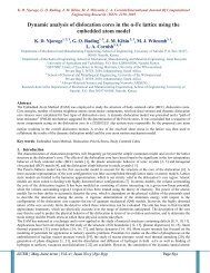 Dynamic analysis of dislocation cores in the α-Fe lattice using ... - ijcer
