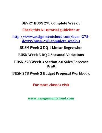 DEVRY BUSN 278 Complete Week 3