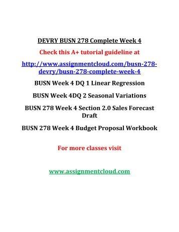 DEVRY BUSN 278 Complete Week 4