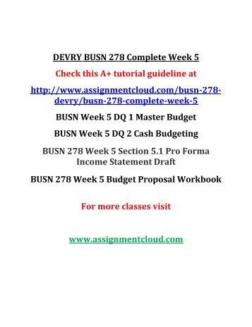 DEVRY BUSN 278 Complete Week 5
