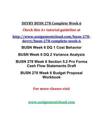 DEVRY BUSN 278 Complete Week 6