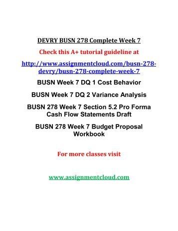 DEVRY BUSN 278 Complete Week 7