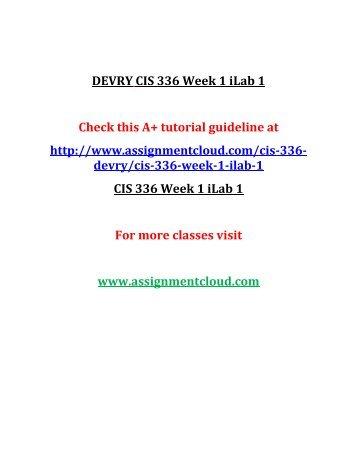 DEVRY CIS 336 Week 1 iLab 1