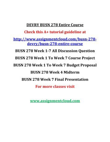 DEVRY BUSN 278 Entire Course